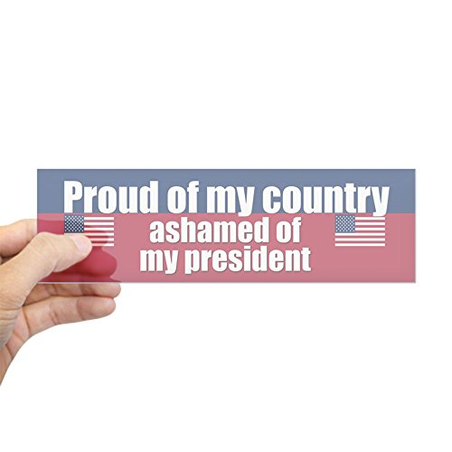 "CafePress - ASHAMED OF MY PRESIDENT Bumper Sticker - 10""x3"" Rectangle Bumper Sticker Car Decal"