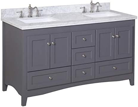 Abbey 60-inch Double Bathroom Vanity Carrara Charcoal Gray Includes Charcoal Gray Cabinet with Authentic Italian Carrara Marble Countertop and White Ceramic Sinks
