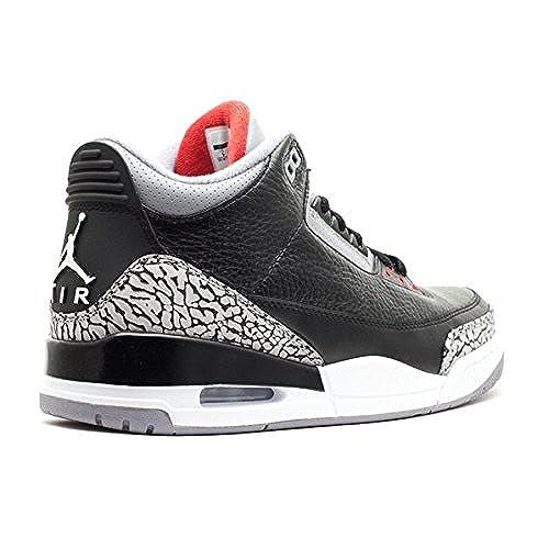 c8fb8757885007 NIKE Mens Air Jordan 3 Retro Black Varsity Red-Cement Grey Leather Size