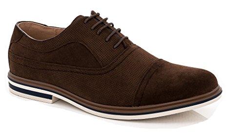 Franco Vanucci Oliver Uomo Flyknit Maglia Leggera Da Corsa Running Lace Up Oxford Design Moda Sneakers Marrone Pelle Scamosciata (dexter-1)