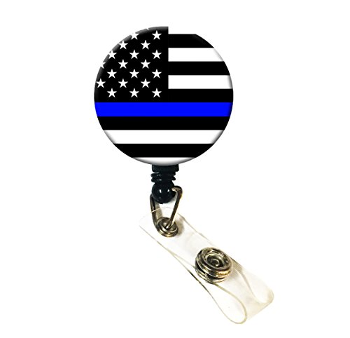 Wigspedia Retractable Name ID Badge Holder Reel/ID Badge Holder - Police Thin Blue Line (Thin Blue Line Flag Badge)