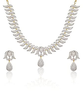 Buy Youbella Jewellery American Diamond Gold Plated Necklace Set