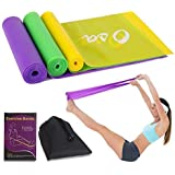ECGOIOE Flat Exercise Band Set of 3 with Carry Bag, Wide Resistance Ranges 5-15LBs for Home Gym, Physical Therapy, Sport, Pilates, Stretch, Yoga, Strength Training