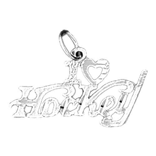 Jewels Obsession I Love Hockey Charm Pendant   14K White Gold I Love Hockey Pendant - 16 mm