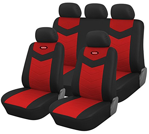 Full Set Protective Vinyl Car Seat Covers for Honda Civic 2006-2015 (Red) ()