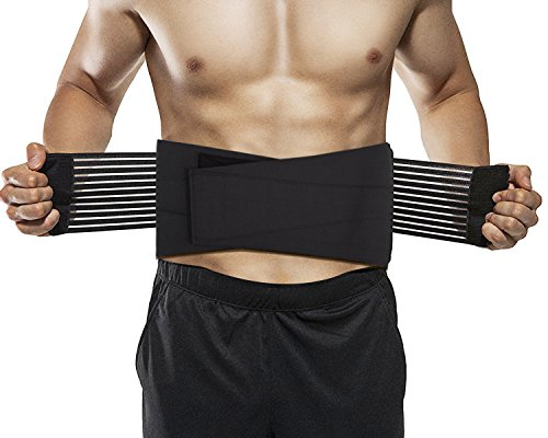 Glevel Stabilizing Lumbar Lower back Brace and support belt with dual Adjustable Straps and Breathable mesh (Dual Adjustable Back Support)