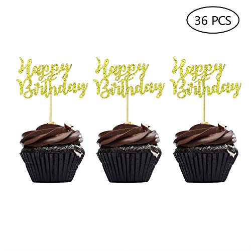 Gold Happy Birthday Cupcake Topper Picks for Celebrating Birthday Party Decorations 36PCS
