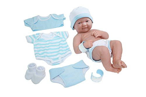 "La Newborn Nursery 8 Piece Layette Baby Doll Gift Set, featuring 14"" Life-Like Smiling Newborn Doll, Blue"