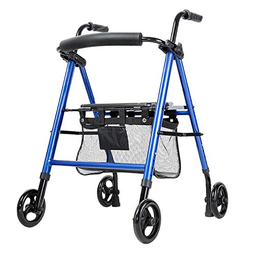 Dudolala Elderly Trolley Walker, Aluminum Wheeled Folding Shopping Cart, Lightweight Roller Aluminum Brake Folding Walker Adult W/Height Adjustable Seat by Legs and Arms