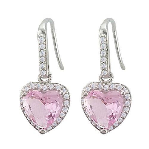 SELOVO Women Girl's Pink Love Heart Drop Earrings Cubic Zirconia Silver Tone (Heart Hoop Pink)