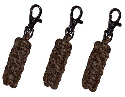 SGT KNOTS Zipper Pulls (3 Pack) 550 Paracord Zipper Slider - Replacement Zipper Pull Tab - Zipper Pull Ends - for Jackets, Soft Tops, Bags, Suitcases, Shoes (4 ft - Coyote Brown)