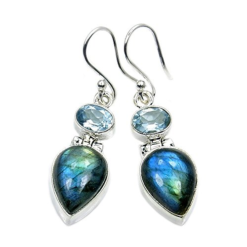 Labradorite Mystic Earrings (Mystic Princess' Sterling Silver Labradorite, Blue Topaz Dangle Earrings)