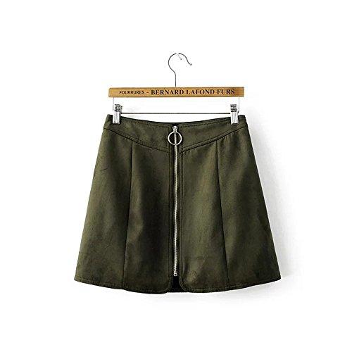 JOTHIN 2017 Nouveau Femmes Zip de Avant Couleur Unie de Mode Fminine en Daim Jupe Jupes A-ligne Robe Vert