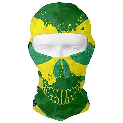 (Leopoldson Retro Jamaica Skull Flag Jamaica Pride Balaclava UV Protection Windproof Ski Face Masks for Cycling Outdoor Sports Full Face Mask)