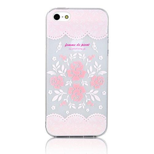"JewelryWe ""femme de pivot"" Blumenstrauß Blumen Bukett TPU Silikon Handy Case Schutzhülle Tasche Hülle Rückenschutzhülle für Apple iPhone 5/5S Pink"