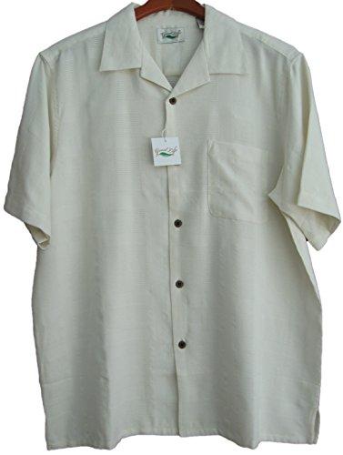 Good-Life-Mens-Silk-Camp-Shirt-Textured-Squares-Ivory-Casual-Hawaiian