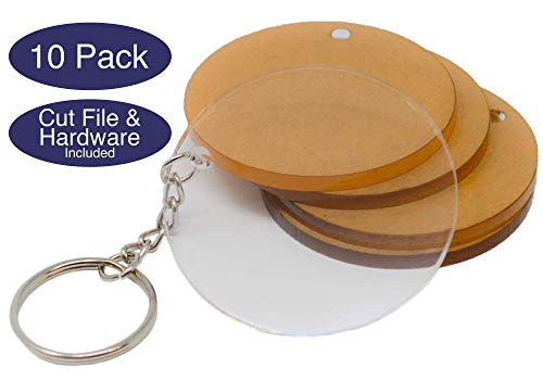 Acrylic Keychain Blanks for Key Rings or Key Chain Rings - 2.5in Circle Disc 10pk with Hardware - Clear Transparent Acrylic Plexiglass - by My Local Maker - Made in USA