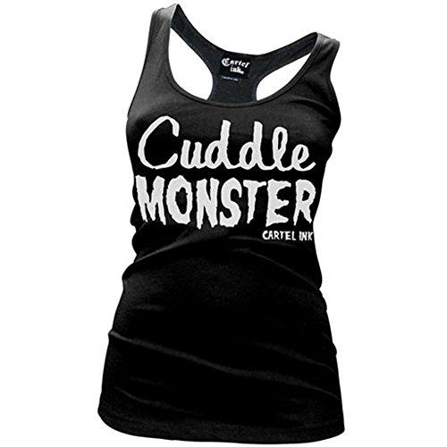 Women's Cartel Ink Cuddle Monster Racer Back Tank Top Black (Cuddle Monster)