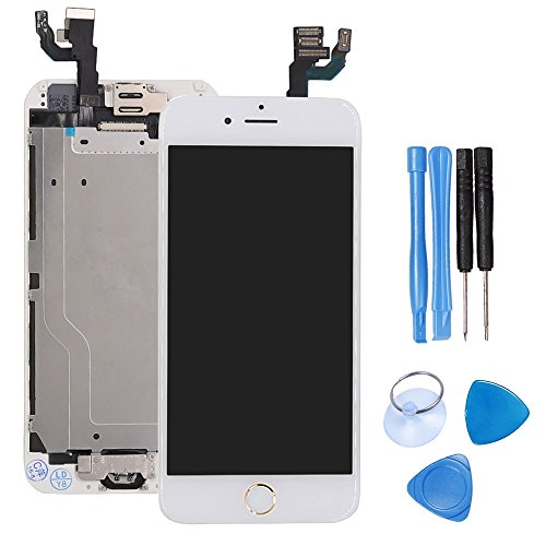 (Ibaye LCD Display Touch Screen Digitizer Glass Lens with Camera and Home Button Assembly Repair Replacement for iPhone 6 (4.7) inch with Tools White Gold Home Button )