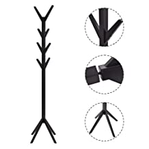 Coat Rack Tree Stand Clothes Holder Hat Hanger Hall Stand Umbrella Wood Black