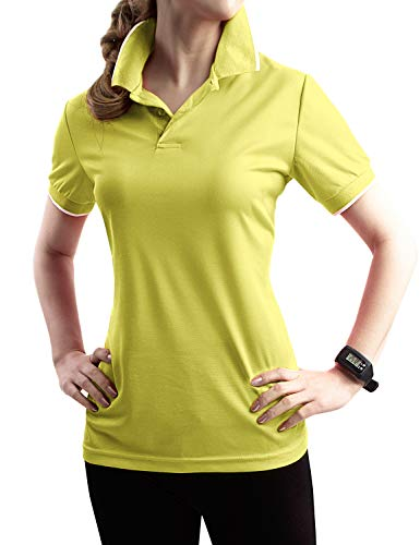 TWINTH Womens Active Sports Wear Short Sleeve 2-Button Polo T Shirt with Plus Size Mustard 2XL