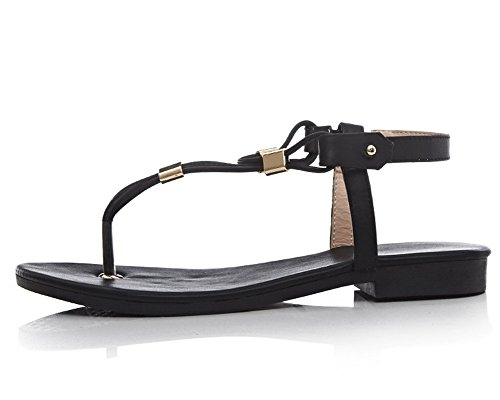 Low Open Women's Sandals Pu Heels WeenFashion Button Black Toe Solid tBOqqw