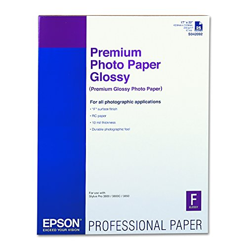 Epson S042092 Premium Photo Paper, 68 lbs., High-Gloss, 17 x 22 (Pack of 25 Sheets)