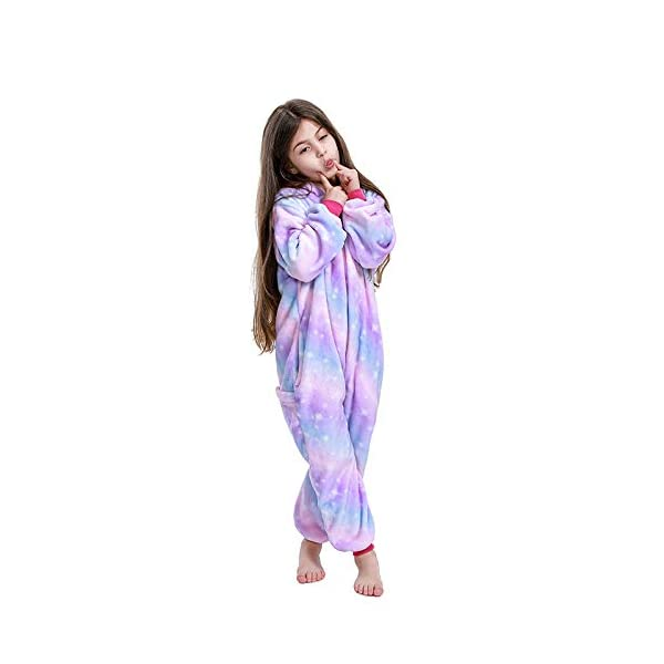 FuRobes Kids Unicorn Onesie Pajamas,One Piece Children Cosplay Animal Costume Halloween Sleepwear for Girls and Boys Gift 6