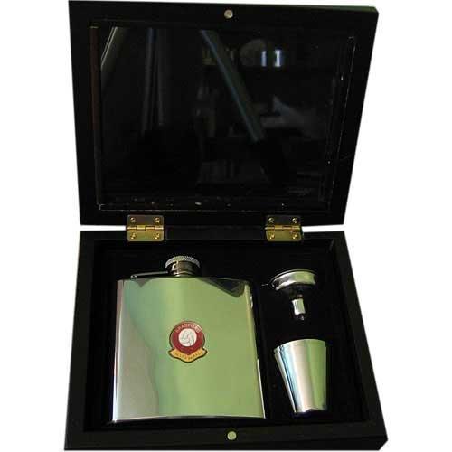 Football Club Hip Flasks-Bradford City 'Valley Parade' Football Club 6Oz Hip Flask Gift Set