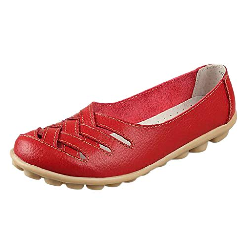 OFEFAN Women's Leather Loafers Moccasins Casual Flat Boat Shoes Cut Out Driving Sandals Red