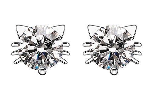 18k White Gold Plated Swarovski Crystal Zircon Mini Cute Lovely Cat Earrings Stud E160