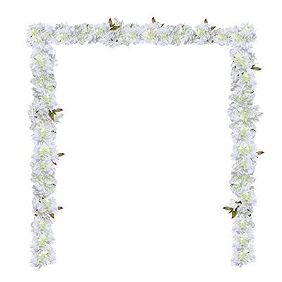 GreenDec Artificial Silk Plants Cherry Blossom Hanging Vine Spray Arrangements Faux Garland Fake Wreath Home Garden Wedding Decor