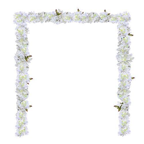 70 Artificial Silk Cherry Blossom Flower-2 Pack Hanging Vine Garland Each 105 Flower Spray Arrangements for wedding Wreath Home Garden Party Decor ,White