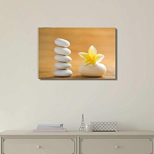 Zen Stones with Blooming White Plumeria Wall Decor