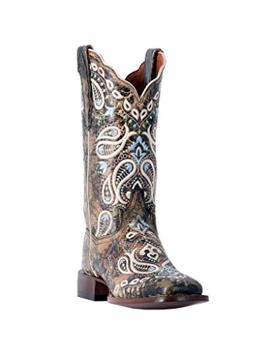 (Dan Post Women's Anna Embroidered Cowgirl Boot Square Toe Chocolate 7.5 M)
