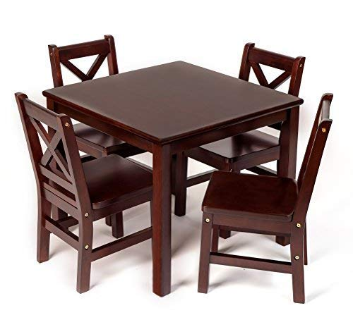 eHemco Kids Table and 4 Chairs Set Solid Hard Wood in Espresso with X-Back Chair (Table Hard Wood)