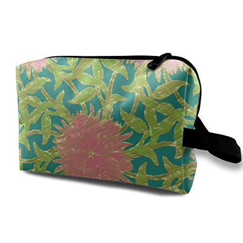 Cosmetic bag for purse,Dianthus Cloisonne On Mock Gold_1663,Oxford cloth Colourful Bag Mini Travel