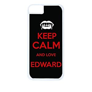 Keep calm and Love Edward - Black and Red - Hard White Plastic Snap - On Case-Apple Iphone 5C Only - Great Quality!