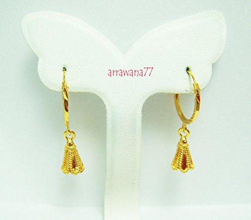 22k Earrings (Earrings Drop Dangle 18k 22k 24k Thai Baht Yellow Gold Plated Filled Earrings Design From Thailand)