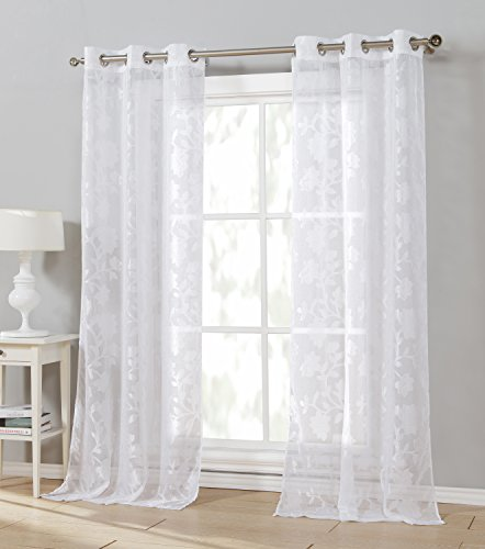 Duck River Textiles - Arya Floral Linen Grommet Top Window Curtains for Living Room & Bedroom - Assorted Colors - Set of 2 Panels (38 X 84 Inch - White)