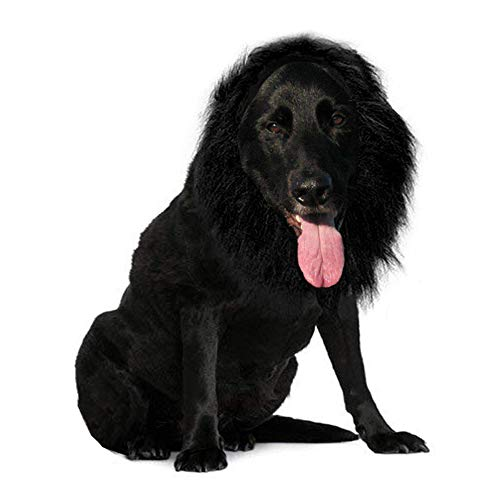 Qiao Niuniu Lion Mane Wig for Dog - Pet Costume - Halloween Cloth Festival Fancy Dress Up (Color: Black,Size: Large) -