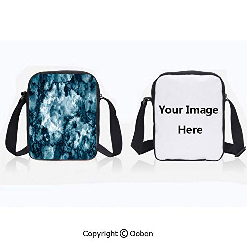 Polyester Anti-Theft Everything Crossbody Bag Unisex Teen Antique Marble Stone with Blurry Distressed Motley Fractal Effects Illustration Blue Lightweight Zipper Multi-Pocketed Travel Bag -