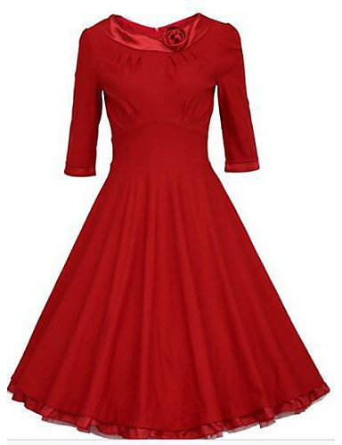 PU&PU Robe Aux femmes Swing Vintage , Couleur Pleine Col Ras du Cou Midi Coton / Polyester , red-xl , red-xl
