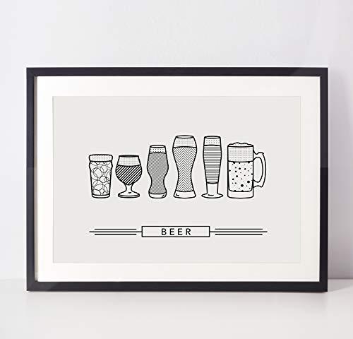 Beer Poster - Kitchen Art - Dining Room Decor - College Student Gift - Alcohol Poster - Minimal Art Print (Unframed)