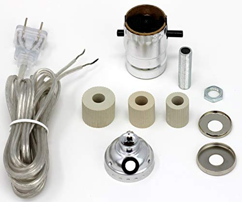 Creative Hobbies Silver Finish Bottle Lamp Kit with 3 Rubber Adapters for Wine, Liquor Bottles, Jugs and - Kit Hardware Lamp