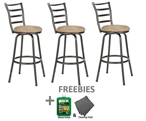 Roundhill Round Seat Bar//Counter Height Adjustable Metal Bar Stool