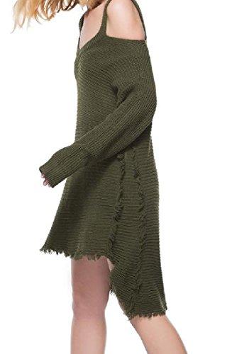 Maglioni Dell'esercito Comodi Casuale Manica Creative Verde Mini Vestito Delle Irregolari Donne Lunga FWwEPYqawU