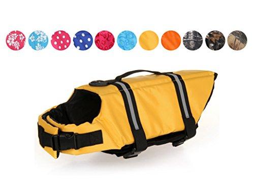 GabeFish Dog Life Jacket Vest Safety Clothes Collar Harness Saver Pet Swimming Preserver Reflective Strip Swimwear Yellow Medium