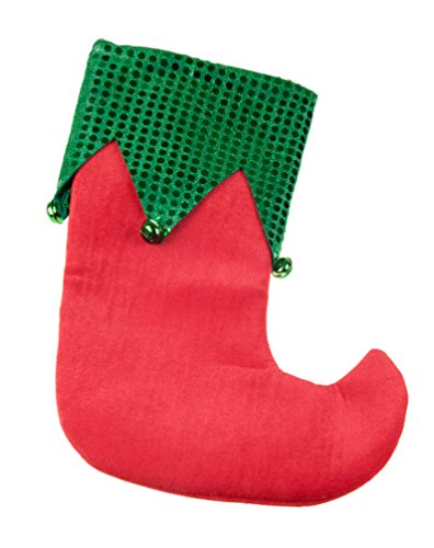 - Elf Soft Plush Cloth Hanging Christmas Stocking | For Kids, Teens, Adults | Red and Green with Jingle Bells Holiday Decor Theme | Perfect for Small Gifts, Stocking Stuffers, & Candy | 11