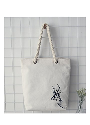 Canvas Tote Bag Animal Print Deer with Rope Handle with Zipper with Pocket 10.43 x 14.37 x 3.46inch INDEER (Bag Canvas Print)